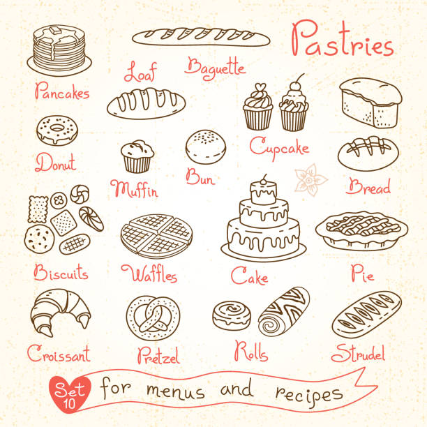 Set drawings of pastries and bread for design menus, recipes Set drawings of pastries and bread for design menus, recipes and packages product. Vector Illustration. cake drawings stock illustrations
