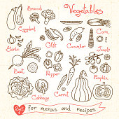 Set drawings of vegetables for design menus, recipes and packages