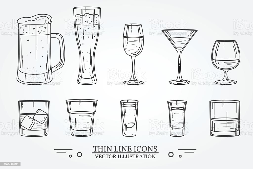 Set drink alcohol  glass for beer, whiskey, wine, tequila vector art illustration