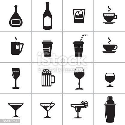 Vector illustration with a complete collection of clip arts containing several group of objects of a food and drink beverages.