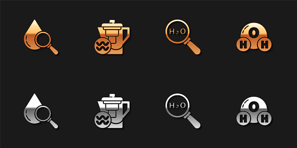 Set Drop and magnifying glass, Water jug with filter, Chemical formula for H2O and icon. Vector