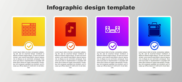 Set Drum machine, Music book with note, Home stereo and Guitar amplifier. Business infographic template. Vector