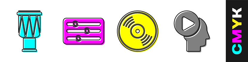 Set Drum, Sound mixer controller, Vinyl disk and Head people with play button icon. Vector