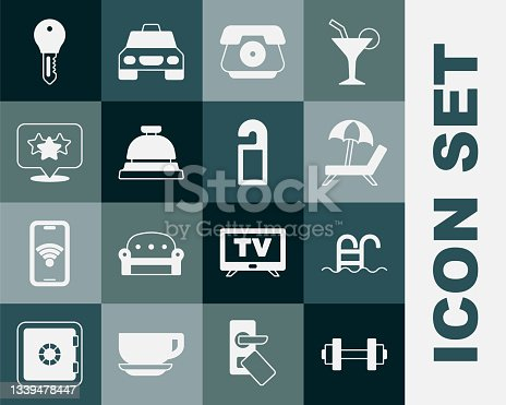 istock Set Dumbbell, Swimming pool, Sunbed with umbrella, Telephone handset, Hotel service, Stars rating, door lock key and Please not disturb icon. Vector 1339478447