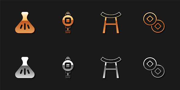 Set Dumpling, Chinese paper lantern, Japan Gate and Yuan currency icon. Vector