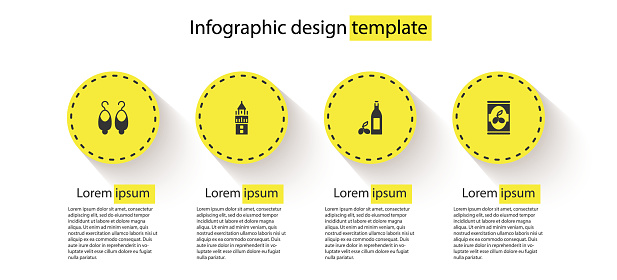 Set Earrings, Giralda, Bottle of olive oil and Olives can. Business infographic template. Vector