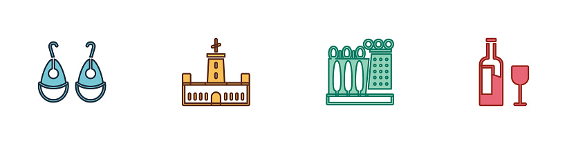 Set Earrings, Montjuic castle, Dali museum and Wine bottle with glass icon. Vector