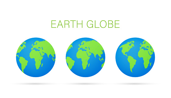 Set Earth globes isolated on white background. Flat planet Earth icon. Vector stock illustration.