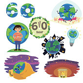 Set Earth hour concept save planet 60 minut or one hour turn off light candles light at night for international world day, vector illustration