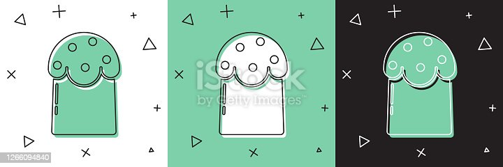 istock Set Easter cake icon isolated on white and green, black background. Happy Easter. Vector Illustration 1266094840