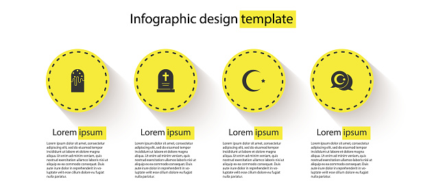 Set Easter cake, Tombstone with cross, Star and crescent and . Business infographic template. Vector