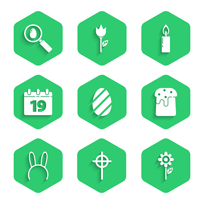 Set Easter egg, Christian cross, Flower, cake, Mask with long bunny ears, Calendar Happy, Burning candle and Search easter icon. Vector