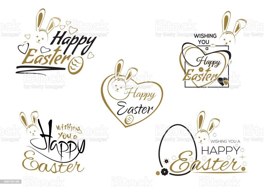 Legen Sie Ostern Schriftzug Osterhase Und Ostern Eiern Stock Vektor ...