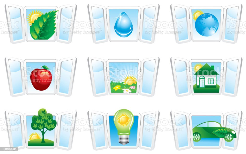 Set  ecology icons royalty-free set ecology icons stock vector art & more images of apple - fruit