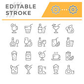Set editable stroke line icons of drink isolated on white. Vector illustration