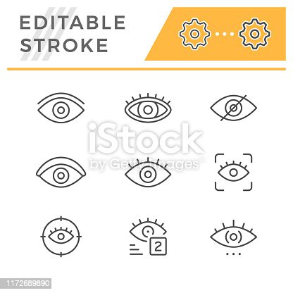 Set editable stroke line icons of eye isolated on white. Vector illustration