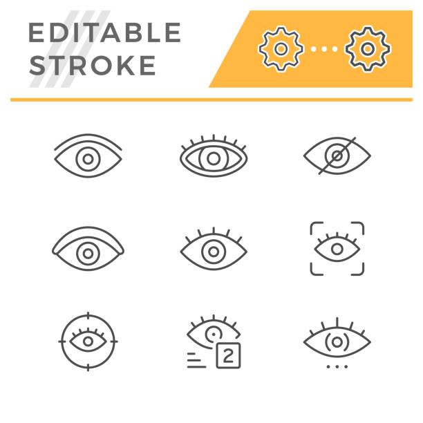 stockillustraties, clipart, cartoons en iconen met pictogrammen voor bewerkbare lijn lijnen van het oog instellen - eye