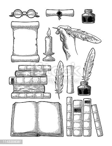 Set education. Inkwell, pile of old books, scroll with seal, hand holding goose feather, glasses, candle. Isolated on white background. Vector black vintage engraving illustration