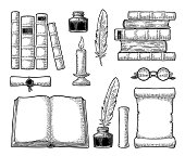 Set education. Inkwell with feather, pile of old books, scroll, glasses, candle. Isolated on white background. Vector black vintage engraving illustration. Hand draw in a graphic style.