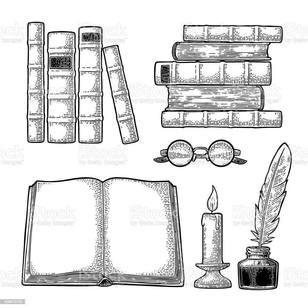 Définir l'éducation. Encrier avec plume, pile de livres, lunettes, bougie. - Illustration vectorielle