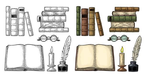 ilustrações de stock, clip art, desenhos animados e ícones de set education. inkwell with feather, pile books, glasses, candle. - tinteiro