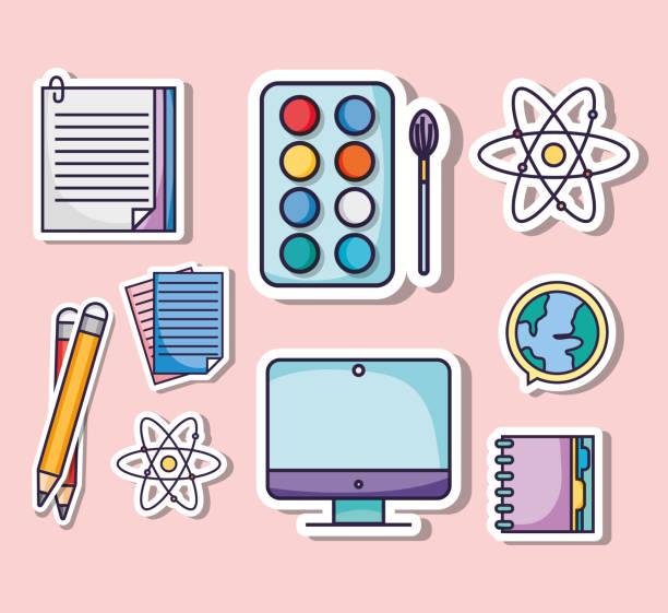 教育学校道具アイコンを設定します。 - 中学校点のイラスト素材/クリップアート素材/マンガ素材/アイコン素材