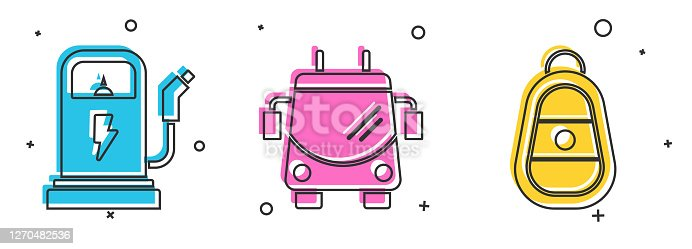 Set Electric car charging station, Trolleybus and Car key with remote icon. Vector