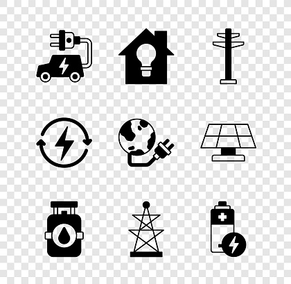Set Electric car, Smart house and light bulb, tower, Propane gas tank, Battery, Recharging and Global energy power planet icon. Vector
