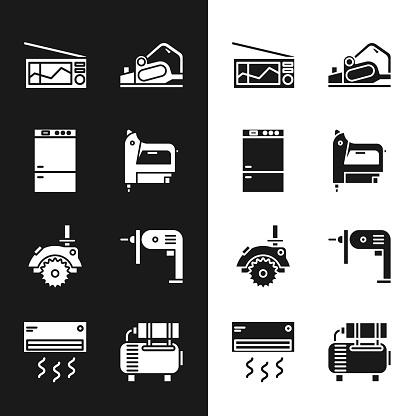 Set Electric construction stapler, Refrigerator, Radio, planer tool, circular saw and drill machine icon. Vector