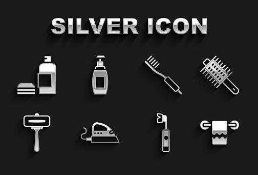 Set Electric iron, Hairbrush, Towel hanger, toothbrush, Shaving razor, Toothbrush, Bottle of shampoo and liquid soap icon. Vector