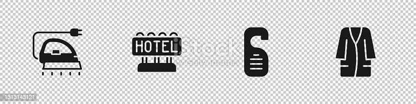 istock Set Electric iron, Signboard with text Hotel, Please do not disturb and Bathrobe icon. Vector 1313143121