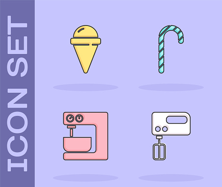 Set Electric mixer, Ice cream in waffle cone, and Christmas candy cane icon. Vector