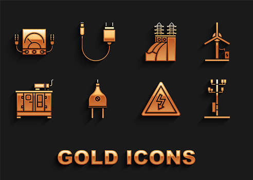 Set Electric plug, Wind turbine, High voltage power pole line, sign, Diesel generator, Nuclear plant, Ampere meter, multimeter, voltmeter and Charger icon. Vector