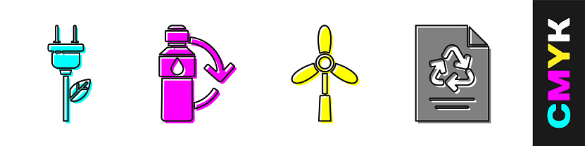 Set Electric saving plug in leaf, Recycling plastic bottle, Wind turbine and Paper with recycle icon. Vector