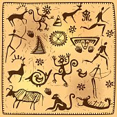 Set elements African petroglyph art old