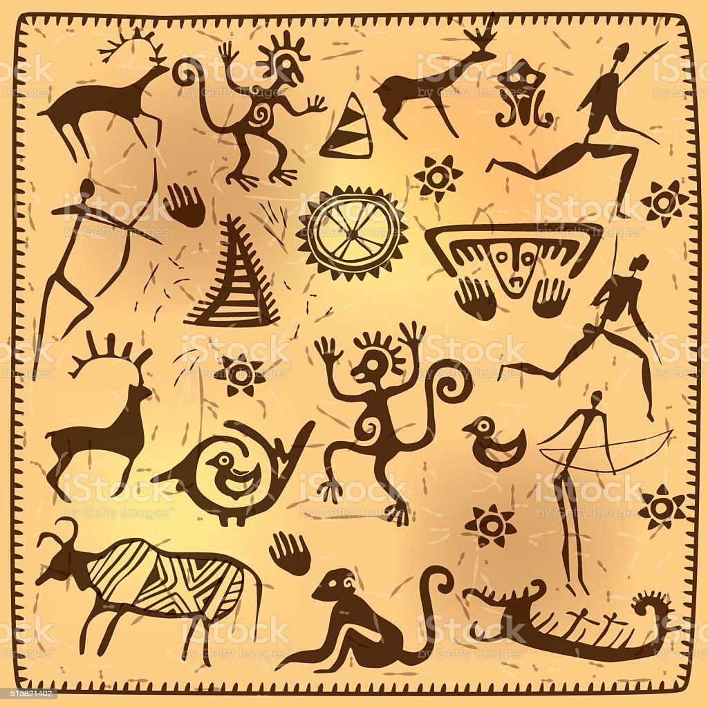 Set elements African petroglyph art old vector art illustration