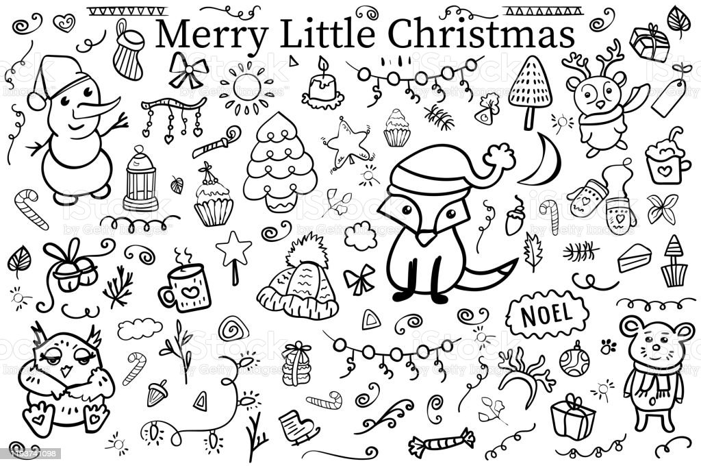 Set Elements And Symbol Of The New Year And Christmas Coloring Page Coloring  Book Contour Hand Drawn Doodle Isolated On White Cartoon Style Vector  Illustration Stock Illustration - Download Image Now - IStock