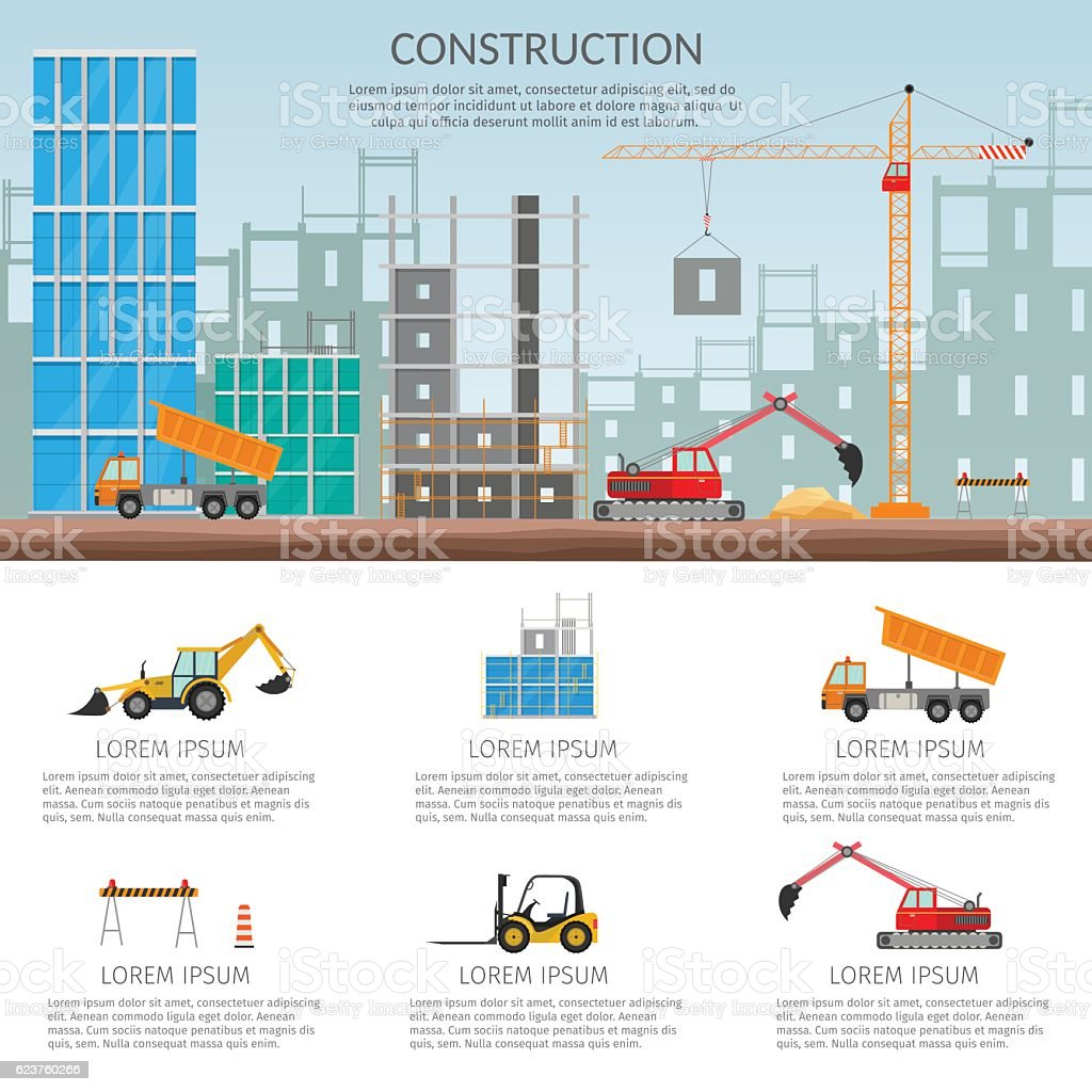 Set elements construction Concept process construction building house vector set vector art illustration