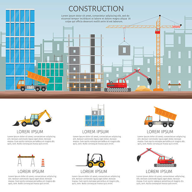 Set elements construction Concept process construction building house vector set – Vektorgrafik
