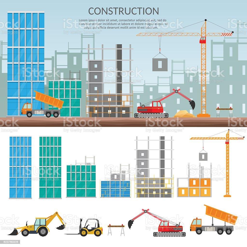Set elements construction concept process construction for Process of building a new house
