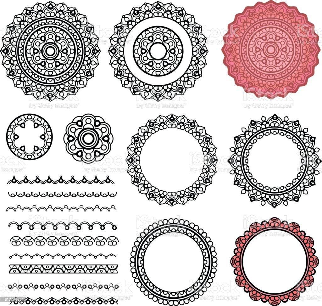 Vetores De Conjunto De Elementos De Mandala Redonda Quadros