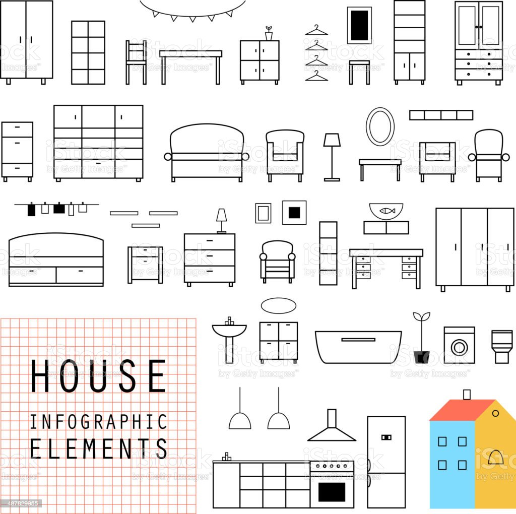 Set elements of infographics. House design. Furniture. Vector. vector art illustration