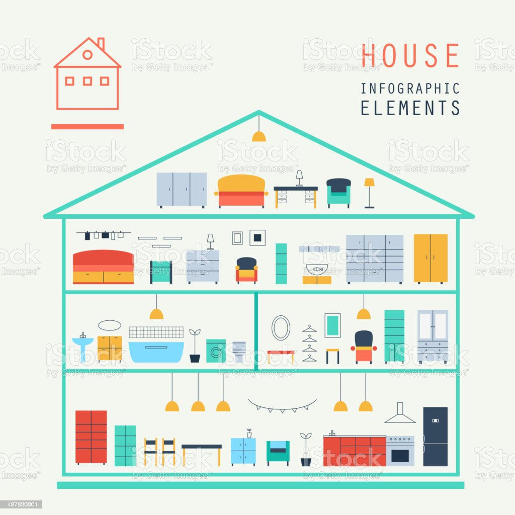 Set elements of infographics. House design. Furniture. Vector.