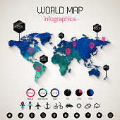 Watercolor world map with shadow. Vector Illustration.