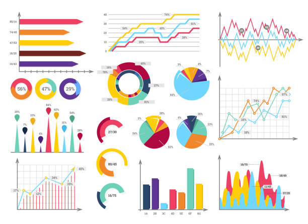 set elements of infographics - диаграмма stock illustrations