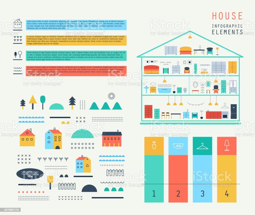 Set elements of infographics.Eco structure. House design. Furniture. Vector. vector art illustration