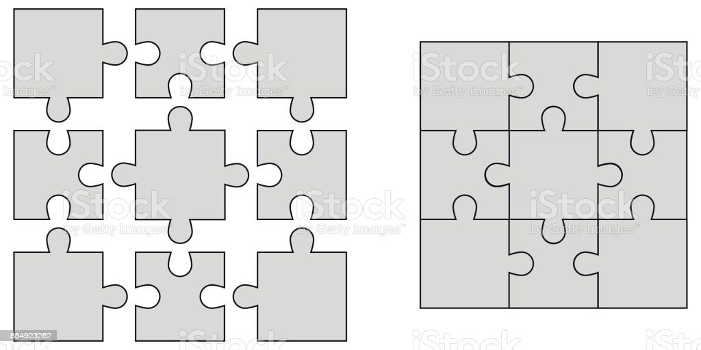 Set Elements Of Puzzle Jigsaw Puzzle Blank Vector To Create