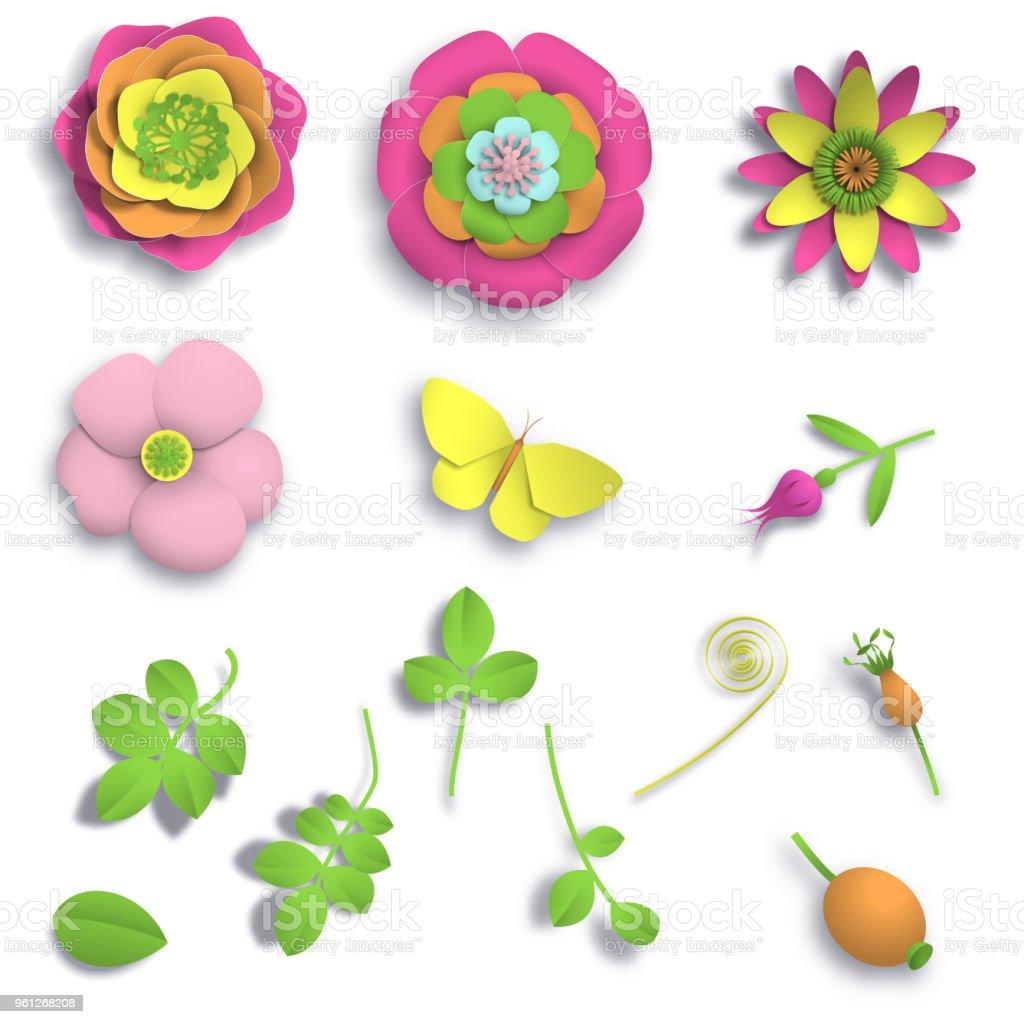 Öğeleri kağıt el sanatları 3D vahşi gül çiçek, Kuşburnu çilek ve kelebek seamless modeli ayarlayın. Stok görüntü illüstrasyon vektör vektör sanat illüstrasyonu