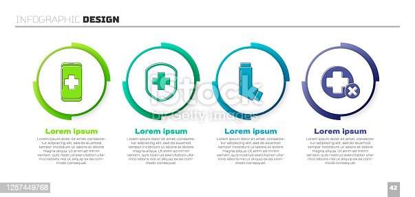 istock Set Emergency mobile phone call to hospital, Medical shield with cross, Inhaler and Cross hospital medical. Business infographic template. Vector 1257449768