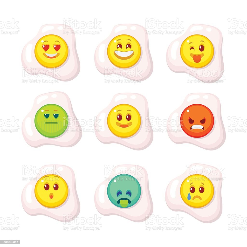 Set emotions egg flat style isolated vector art illustration